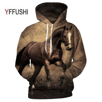 YFFUSHI 2018 Animal Printed Hoodies 3D Men Women Hooded Pullover Horse Print Sweatshirts Casual Loose Men Coat Plus Size 5XL