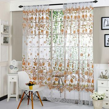 Fashion Pastoral Style Translucidus  Window Curtain Tulip Flower Pattern Split Curtain For Living room bedroom