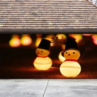 Christmas Garage Door Cover Banners 3d Snowman Holiday Outside Decorations Outdoor Decor for Garage Door G70
