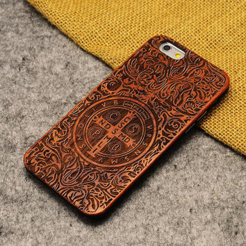 Constantine Wood Case cross Wooden New Cover Carving flower Patterns Wood Slice Plastic Edges Back Cover for Iphone 6 case iPhone 6 Plus