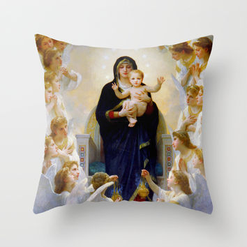 The Virgin With Angels Throw Pillow by Jbjart | Society6