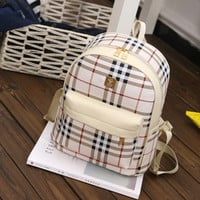 Women cute plaid small backpack lady casual pu leather travel daypack female retro student school backpack mochila book bags