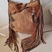 Camel sand light brown southwestern western hobo navajo navaho tribal indian cowgirl southwest leather antique kilim maian bag swoolen