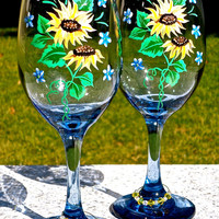 Painted Wine Glasses With Sunflowers And Crystal Wine Charms, Mothers Day Gift, Wedding Gift, 21st Birthday Gift, Gifts For Her