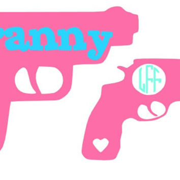 Gun Monogram Decal Add Personality to Christmas Gifts, Great personal Gift, Gift Wrap Option, Personalize So Many Things