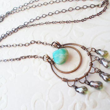 Peruvian opal horseshoe necklace, artisan wire wrapped tear drop modern jewelry, dusty green & blue czech glass dangles, oxidized brass