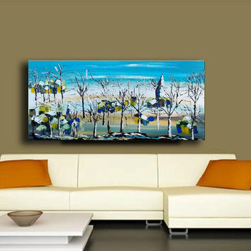 "48"" x 24"" Original Painting Canvas Modern Wall Art Trees Turquoise White Tan Abstract Contemporary Palette Knife Heavy Texture Impasto"