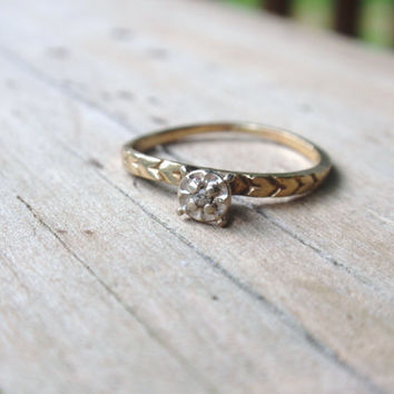Diamond Engagement Ring 10k Engraved vintage dainty petite