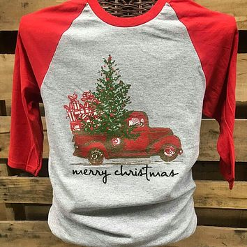 Southern Chics Merry Christmas Truck Raglan Canvas Girlie 3/4 Long Sleeve T Shirt