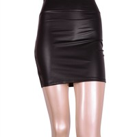 Sexy High Waist Faux Leather Stretch Pencil Slim Fitted Mini Skirt