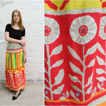 60s maxi skirt / colorful floral abstract print / painterly watercolor bold mod skirt