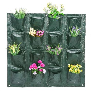 4/8/16 Pockets Indoor Outdoor Wall Hanging Planter Vertical Felt Garden Plant Grow Container Bags Wall Hanging Planter New Hot