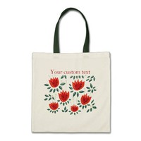 Red Tulip Dark Floral Pattern Custom Text Tote Bag