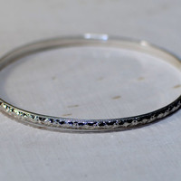 Sterling silver bangle with geometrical southwestern design
