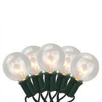 Set of 20 Clear Transparent G50 Globe Patio Wedding Christmas Lights - Green Wire - Walmart.com