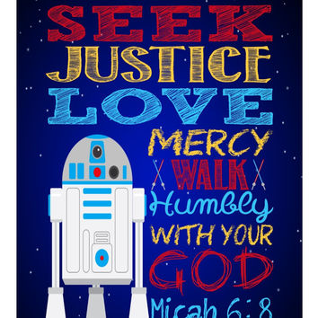 R2D2 Christian Star Wars Nursery Decor Wall Art Print - Seek Justice Love Mercy - Micah 6:8 Bible Verse - Multiple Sizes