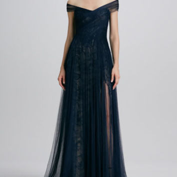 Monique Lhuillier - Asymmetric Draped Tulle/Lace Gown