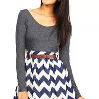 Multi Color Chevron Two-piece Dress