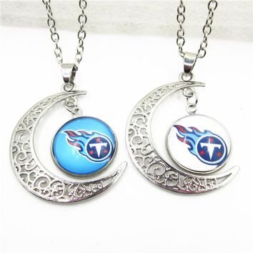 2018 New 10pcs Mix US Football Team Tennessee Titans Heart Necklace Pendant With Chains Necklace DIY Jewelry Sports Charms