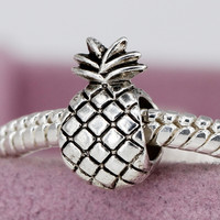 Ananas Alloy Bead Charm Cute pineapple Silver Beads Fit Women Pandora Bracelets & Bangles DIY Jewelry YW15185