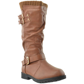 Kids Knee High Boots Knit Calf Vintage Buckles Leather Shoes Brown