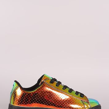 Qupid Perforated Holographic Low Top Lace Up Sneaker