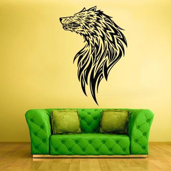 Wall Vinyl Decal Sticker Bedroom Decal Decal Wolf Head Tribal  z428