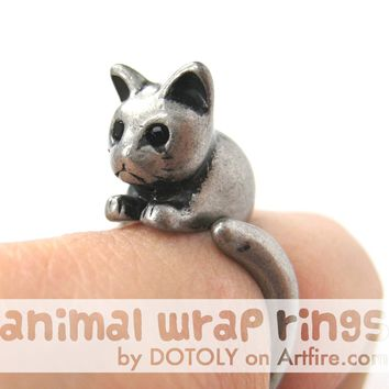 Kitty Cat Animal Wrap Around Ring in Silver - Sizes 4 to 9 Available