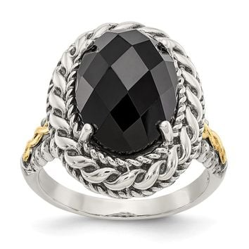 Sterling Silver Two Tone Silver And Gold Plated Sterling Silver w/Antiqued Onyx Ring