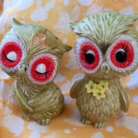 SALE Set of Vintage Owl Salt and Pepper Shakers
