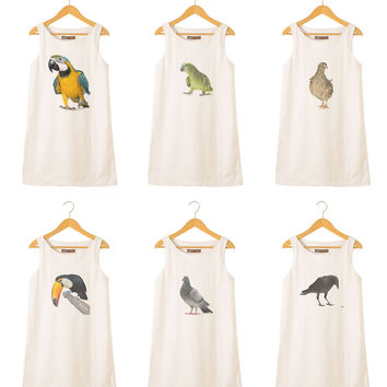 Animal-2 Printed Vintage 100% Cotton Linen Mini Shift Dress WDS_01