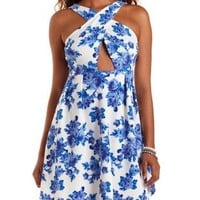 Blue Combo Floral Print Crossover Skater Dress by Charlotte Russe