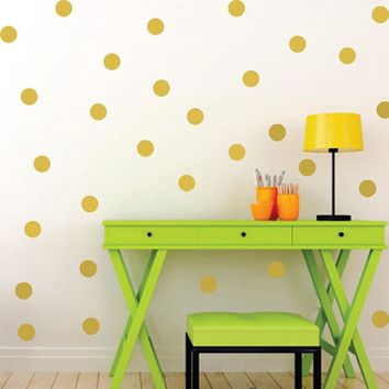 Polka Dots Wall Stickers For Kids Rooms Gold Polka Dots Wall Decals Circle Tiny Polka Sticker Home Decor Wall Art For Kids Gifts