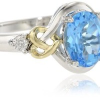 Love Knot Sterling Silver and 14k Yellow Gold  Swiss Blue Topaz  and Diamond Ring, Size 7