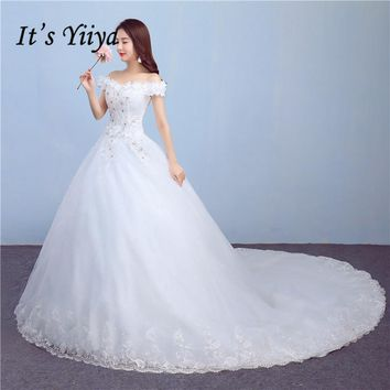 It's Yiiya 2017 New Real Photo Flowers Boat neck Sweep Brush Train White Lace Trailing Simple Wedding Dresses Custom Made TH82