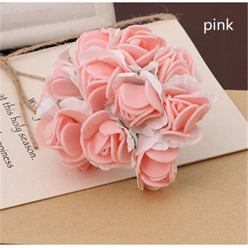 144Pcs Foam Artificial Rose Flower Strawberry Bridal Bouquet