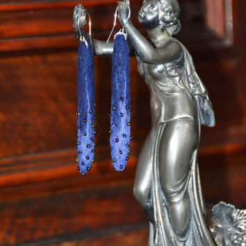 Hand felted long earrings, felt, felted jewelry, silver, elegant unique jewelry, handmade, Eco-Friendly, navy blue purple, colorred beads
