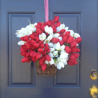 Red and White Tulips -Hanging Basket for Door - Spring Wreath- Valentine's Day