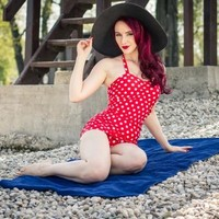 Vintage Red & White Polka Dot One Piece Sheath Swimsuit