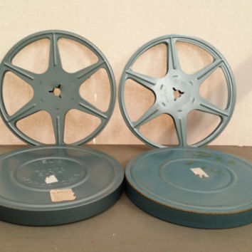 Set of 2 Vintage 8mm Metal Film Reels and Canisters Great for Media Room Decor Repurposing Upcycling Altered Art