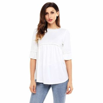 White Babydoll Long Tunic Top