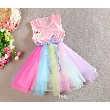 2018 Spring Easter Rainbow Color Easter Dress