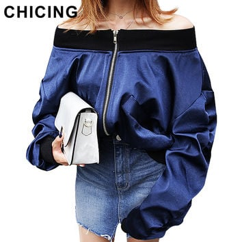 CHICING Women Off Shoulder Puff Sleeves Satin Bomber Jackets 2016 New Autumn Winter Basic Street Wear jaqueta feminina B1609028