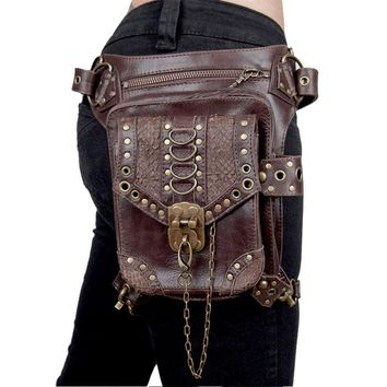 Punk Rivet Hip Holster Messenger Bag (Black/Brown)