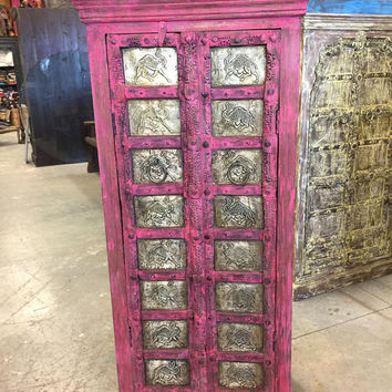 Antique Almirah Pink Jaipuri Brass Camel Carved Wardrobe Cabinet Shabbychic Interiors Design