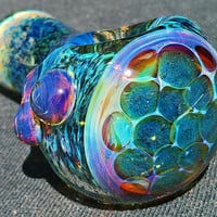 Glass Pipe, Thick Heady Handblown Inside Out Space Galaxy Glass Colorchanging Spoon Hand Pipe with Glittery Honeycomb