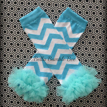 Blue Chevron Leg Warmers Baby Outfit Leggings Pants with Tulle Ruffles, Baby Girl Chiffon Pants, Aqua Leggings, Baby Pants
