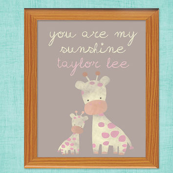 Baby Pink Giraffe Nursery Print - Personalized Nursery Art Gift - Mommy and Baby Giraffe - You are my sunshine custom - pink - yellow