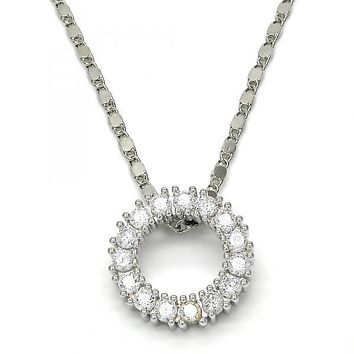 Rhodium Plated 04.156.0061.1.18 Fancy Necklace, with White Cubic Zirconia, Polished Finish, Rhodium Tone