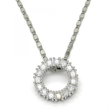 Rhodium Layered 04.156.0061.1.18 Fancy Necklace, with White Cubic Zirconia, Polished Finish, Rhodium Tone